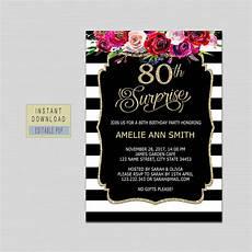 80th Birthday Invitation 80th Surprise Birthday Invitation Instant Download 80th Etsy