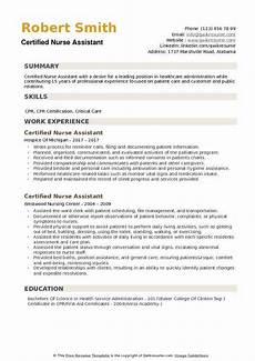 Nurses Aide Resumes Certified Nurse Assistant Resume Samples Qwikresume