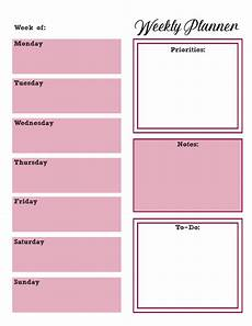 Weekly Day Planner Printable Free Printable Weekly Planners Monday Start
