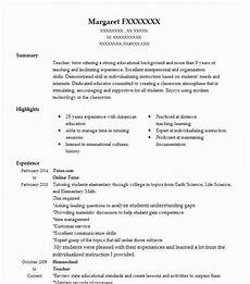 Online Instructor Resume Online Tutor Resume Example Tutor Resumes Livecareer