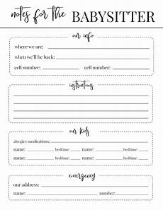 Babysitter Notes Template Free Printable Babysitter Notes Template Paper Trail Design
