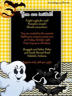 Sample Halloween Invitations Halloween Party Invitation Wording Wordings And Messages