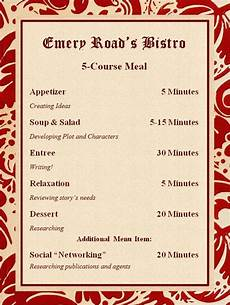 5 Course Meal Menu Template 5 Course Meal Plan For Successful Writing Habits