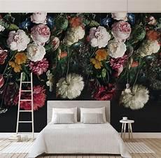 Flower Wallpaper In Bedroom by Bacaz Black Bottom Large Papel Murals 3d Flower