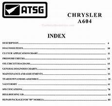 Chrysler Dodge 41te A604 Transmission Rebuild Manual