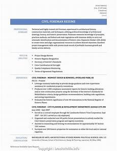 Civil Supervisor Cv Sample Best Civil Supervisor Resume Format Civil Supervisor