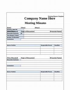 Minutes Templates Minute Formats Templates Williamson Ga Us