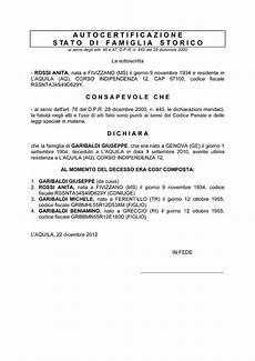 dichiarazione sostitutiva di atto notorio eredi come si compila lo stato di famiglia storico de cuius
