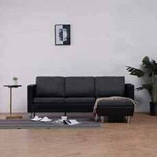 vidaxl 3 seater sofa with cushions black faux leather