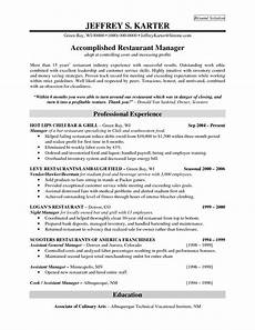 Restaurant Manager Resume Sample Professional Experience For Accomplidhed Restaurant