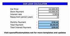 Calculate Car Loan Repayment Mileage Log Open Office Templates