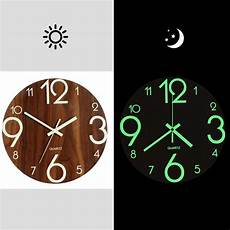 Inch Wooden Creative Luminous Silent by Luminous Wall Clock 12 Inch Wooden Silent Non Ticking