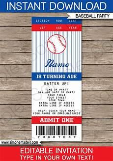 Ticket Invite Template Free Baseball Ticket Invitation Template Baseball Invitations
