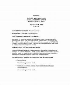 Board Meeting Templates Free 12 Board Of Directors Meeting Agenda Templates Free