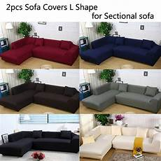 L Shaped Sectional Sofa Covers 3d Image by 2pcs L Shape Sofa Covers Polyester Fabric Stretch