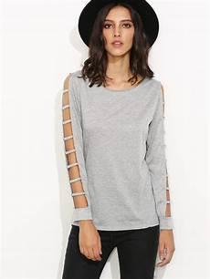 cut sleeve shirts grey ladder cut out sleeve t shirt shein sheinside