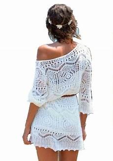 knit summer white summer lace crochet knit dress