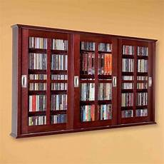 new dvd cd media storage wall cabinet glass doors wood