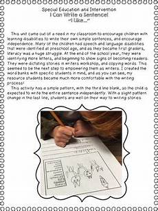 special education writing i can write a sentence by