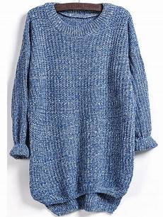 dipped hem knit blue sweater