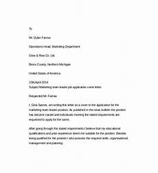 Cover Letter For Team Leader Position Examples Free 7 Sample Resume Cover Letter Templates In Pdf Ms Word