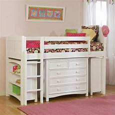 low loft bed for kid made of wooden in white finished