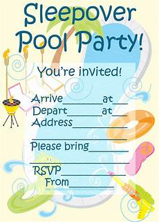 Girl Sleepover Invitations 45 Pool Party Invitations Kittybabylove Com