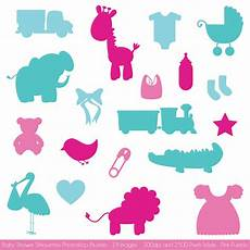 baby shower silhouettes brushes photoshop add ons