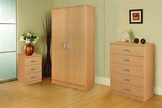 stylish oak trio set wardrobe chest of drawers and bedside