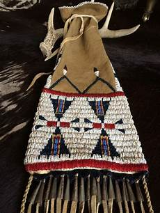 beaded lakota pattern american pipe bag by