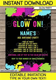 Downloadable Birthday Party Invitations Neon Glow Party Invitations Template Editable And Printable