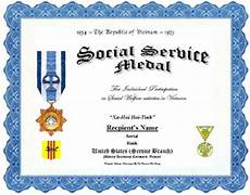 Social Service Certificate Format Vietnam Social Service Medal Replacement Certificate