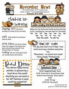 Thanksgiving Newsletter Template Free November Pdf Classroom Newsletter Template Classroom