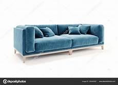 Blue Sofa 3d Image 3d beautiful blue velvet sofa on white background stock