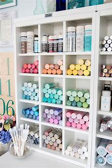 simple and pretty craft organization from thrifty decor