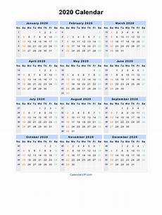 2020 Yearly Calendar Word 2020 Calendar Blank Printable Calendar Template In Pdf