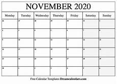 November 2020 Calendar Printable Printable Blank November 2020 Calendar On We Heart It