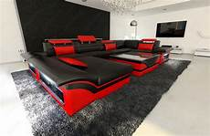 Couch Led Lights Leather Sofa Enzo U Shaped Couch Set With Led Light Black