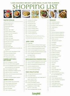 1200 Calorie Diet Chart For Weight Loss 1 200 Calorie Weight Loss Meal Plan For Summer Eatingwell