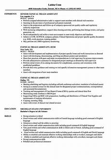Clinical Trial Manager Resume Clinical Trials Assistant Resume Samples Velvet Jobs