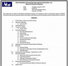 How To Write An Agenda For A Board Meeting Aug 08 2017 Board Meeting Agenda River Plantation