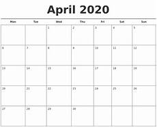 Printable Agenda Calendar 2020 April 2020 Free Calendar Template