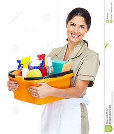 Cleaning Pic Young Smiling Cleaner Woman Royalty Free Stock Photos