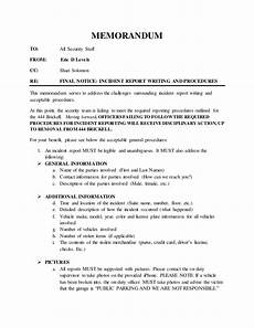Example Of Written Report About An Incident Incident Report Writing And Procedures Memorandum 06 15 2016