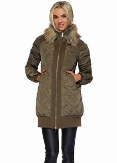 coats designer khaki green quilted coat with faux fur collar