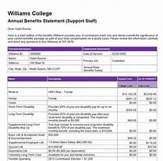 Benefit Statement Williams Benefit Statement Human Resources