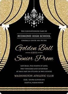 Formal Ball Invitations Elegant Faux Gold Glitter Curtain Prom Invitation Prom