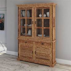 britain rustic teak wood handcrafted china cabinet