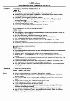 Quality Control Technician Resumes Quality Assurance Technician Resume Samples Velvet Jobs