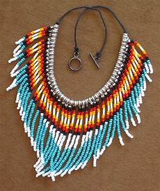 american style fringed turquoise and silver seed bead